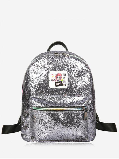trendy Zipper Glitter Backpack - SILVER  Mobile