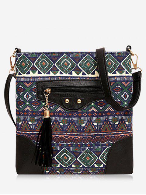 Tassel Tribal Print Crossbody Bag - GREEN  Mobile
