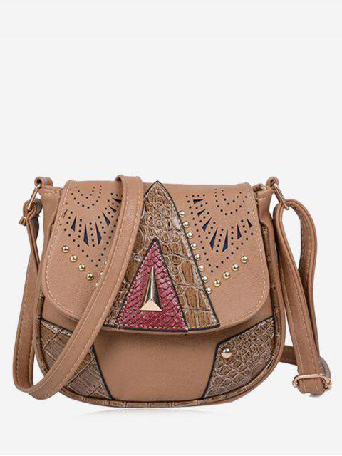 hot Geometric Hollow Out Rivet Crossbody Bag - DEEP BROWN  Mobile