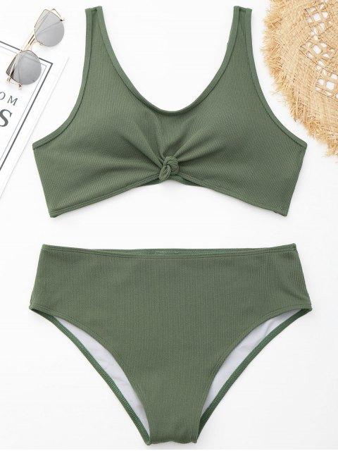 Bikini ancho con nervaduras Plus Size - Verde XL Mobile