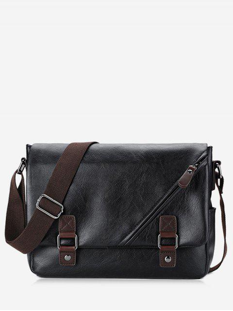 lady Two Tone Double Buckle Straps Crossbody Bag - BLACK  Mobile
