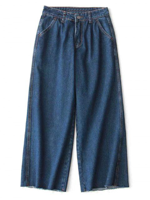 womens Ninth High Waisted Wide Leg Jeans - DENIM BLUE L Mobile