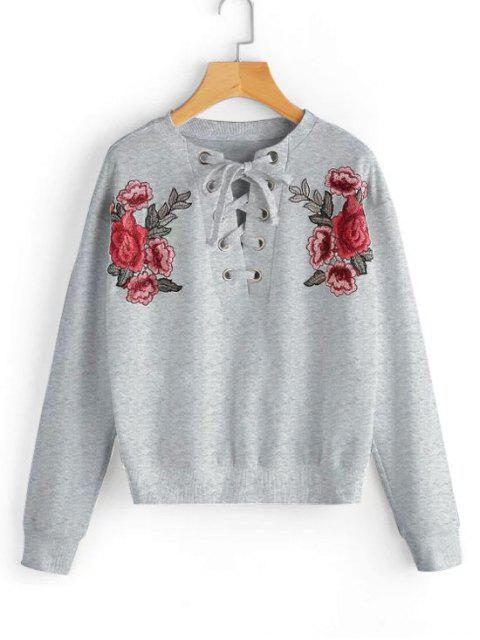 unique Lace Up Floral Patched Sweatshirt - GRAY S Mobile