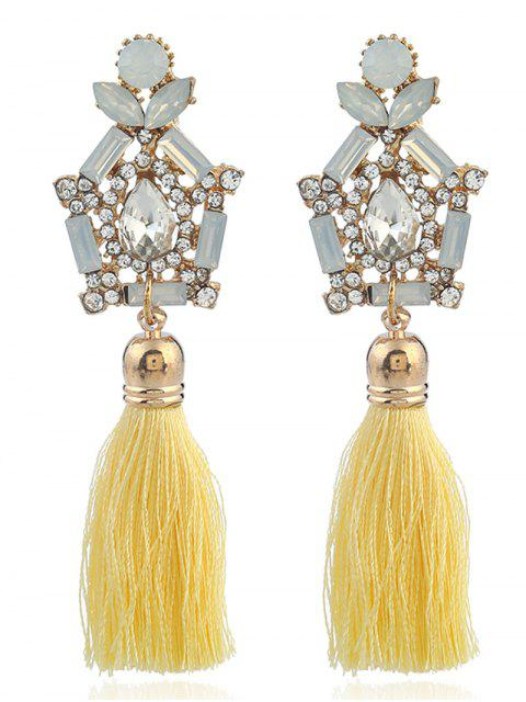 Faux Gem Rhinestone Teardrop Tassel Earrings - Jaune  Mobile