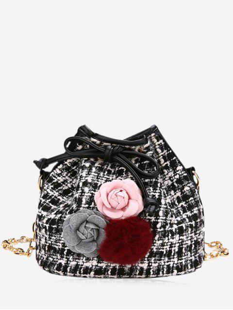 hot Flower Pom Pom Plaid Drawstring Crossbody Bag - BLACK  Mobile
