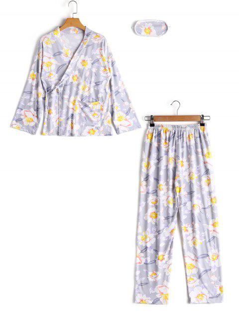 Loungewear Blumen Wickel Top Mit Hose - Grau L Mobile