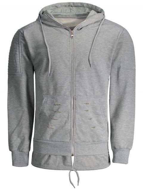 Sweat à Capuche Zippé Déchiré - Gris XL Mobile