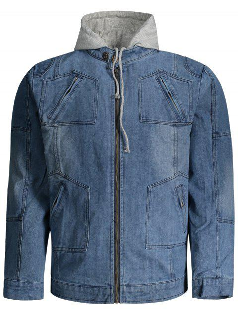 fancy Hooded Denim Jacket - DENIM BLUE 3XL Mobile