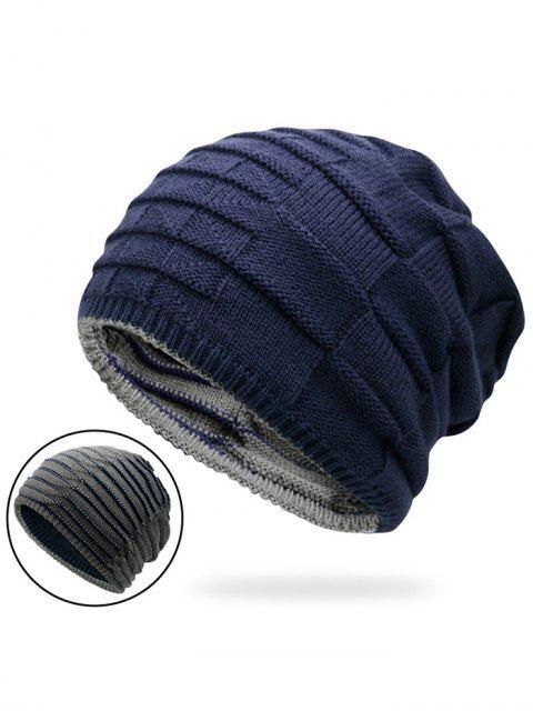 trendy Color Block Reversible Knit Hat - DEEP BLUE  Mobile
