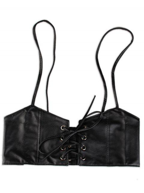 sale Lace Up High Waist Spaghetti Strap Belt - BLACK  Mobile