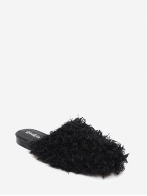 buy Flat Heel Faux Fur Slippers - BLACK 38 Mobile