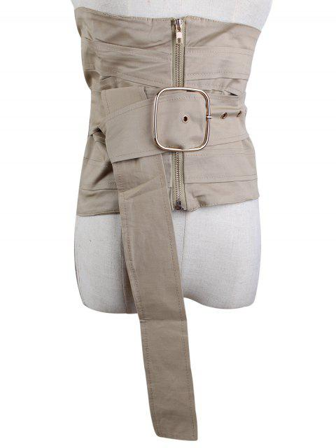 outfit Large Pin Buckle Zip Up Corset Belt - LIGHT KHAKI  Mobile