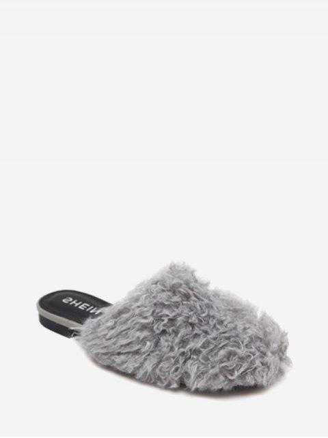 chic Flat Heel Faux Fur Slippers - GRAY 35 Mobile