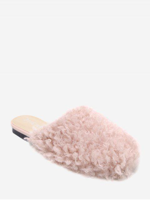 shops Flat Heel Faux Fur Slippers - PINK 36 Mobile