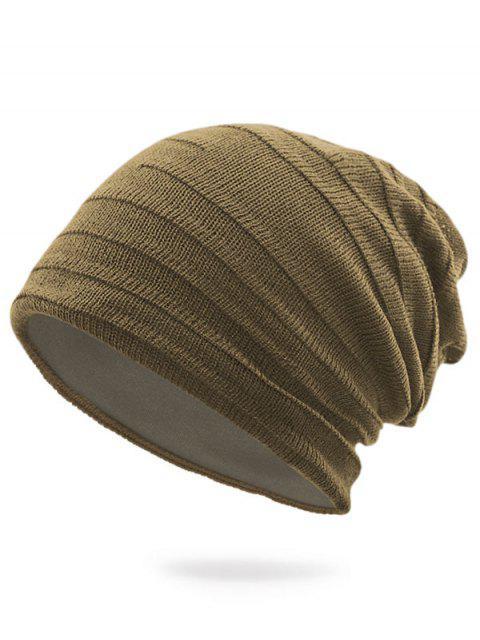 Sombrero de punto rayado liso - Caqui Oscuro  Mobile