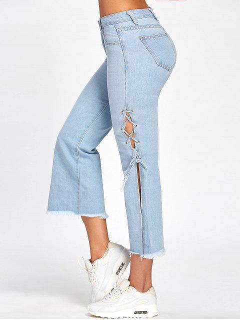 lady Lace Up Raw Hem Capri Jeans - DENIM BLUE S Mobile