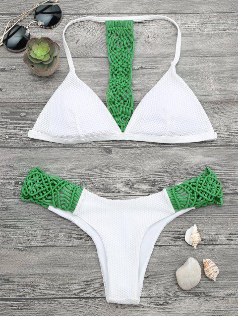 Juego de bikini acolchado con malla de macrame - Verde S Mobile