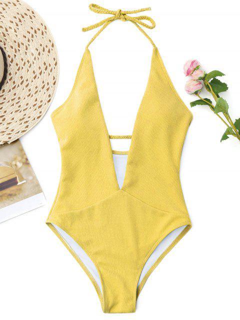 unique Ribbed Plunge Neckline Plaited Swimwear - YELLOW XL Mobile