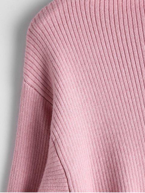 latest Lantern Sleeve Mock Neck Sweater - PINK ONE SIZE Mobile
