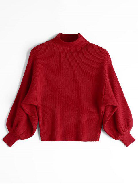 outfits Lantern Sleeve Mock Neck Sweater - RED ONE SIZE Mobile