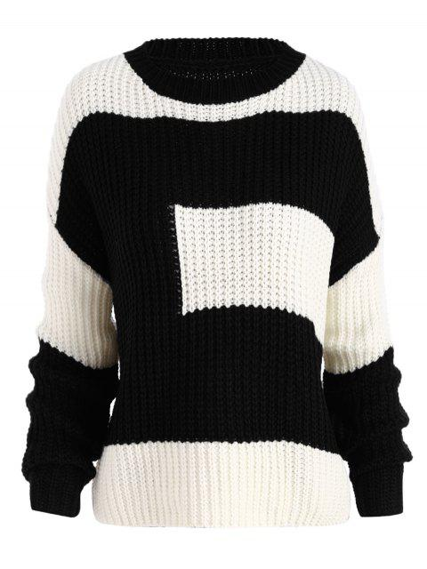 Más tamaño color bloque chunky novio suéter - Negro Única Talla Mobile