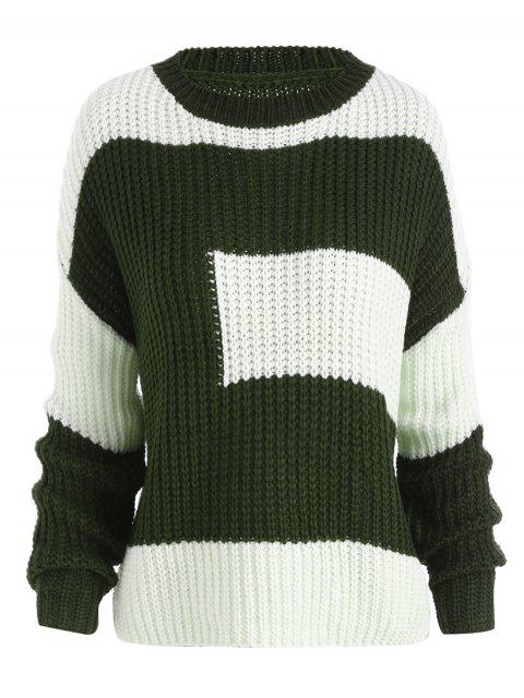ladies Plus Size Color Block Chunky Boyfriend Sweater - BLACKISH GREEN ONE SIZE Mobile