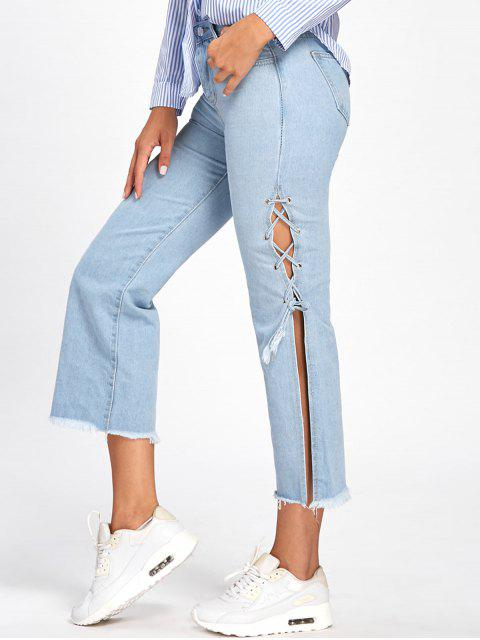 Schnürung Raw Capri Jeans - Denim Blau XL Mobile