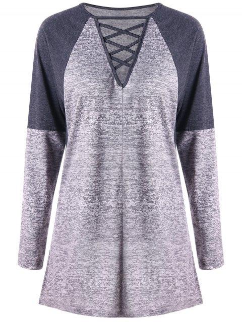 shops Criss Cross Contrast Color Long Sleeve Top - GRAY M Mobile