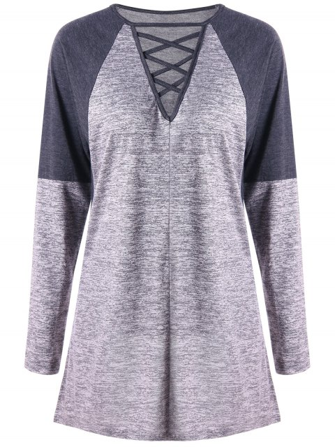 Criss Cross Contraste Color Long Sleeve Top - Gris 2XL Mobile
