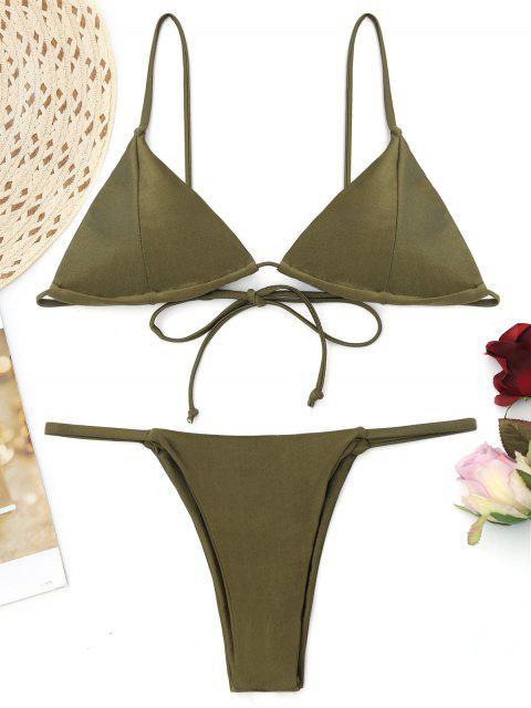 Cami Back Tied Thong Bikini Set - Bundeswehrgrün M Mobile