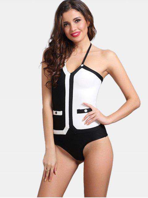 shop Contrast Halter Bodysuit - WHITE AND BLACK S Mobile