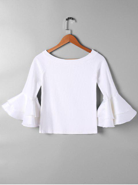 women's Flare Sleeve Panel Knit Top - WHITE M Mobile