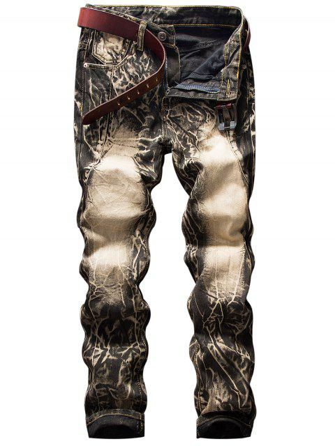 shop Faded Cracking Dye Straight Jeans - BROWN 30 Mobile