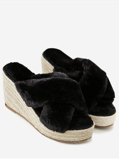 ladies Faux Fur Criss Cross Wedge Heel Slippers - BLACK 37 Mobile