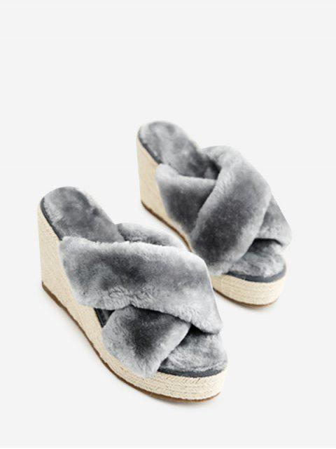 trendy Faux Fur Criss Cross Wedge Heel Slippers - GRAY 39 Mobile