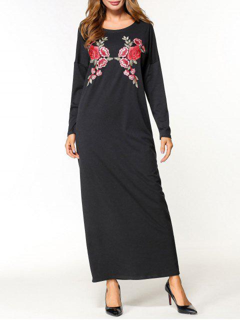 Vestido maxi apliques de flores - Negro XL Mobile