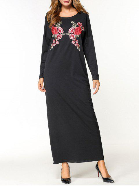 affordable Flower Applique Maxi Dress - BLACK M Mobile