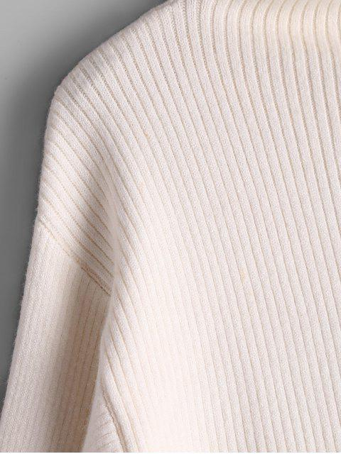 online Lantern Sleeve Mock Neck Sweater - CRYSTAL CREAM ONE SIZE Mobile