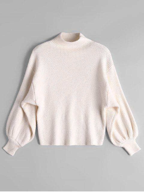 online Lantern Sleeve Mock Neck Sweater - OFF-WHITE ONE SIZE Mobile