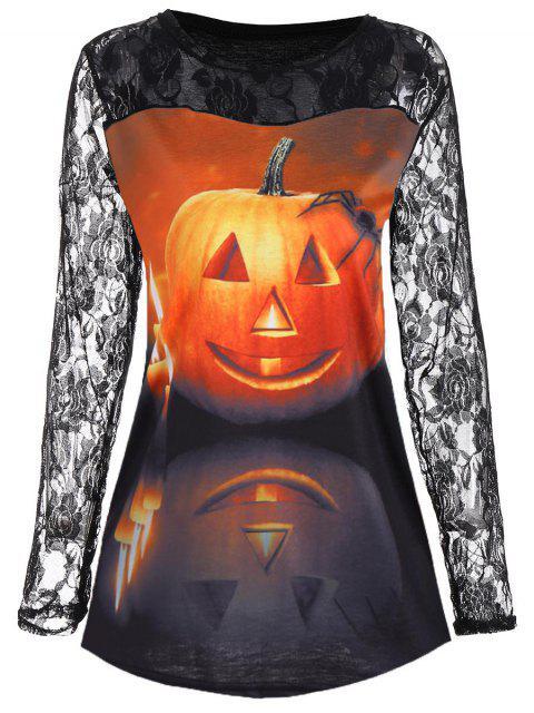 T-Shirt Citrouille Halloween Joug Dentelle Floral - Multicolore 2XL Mobile