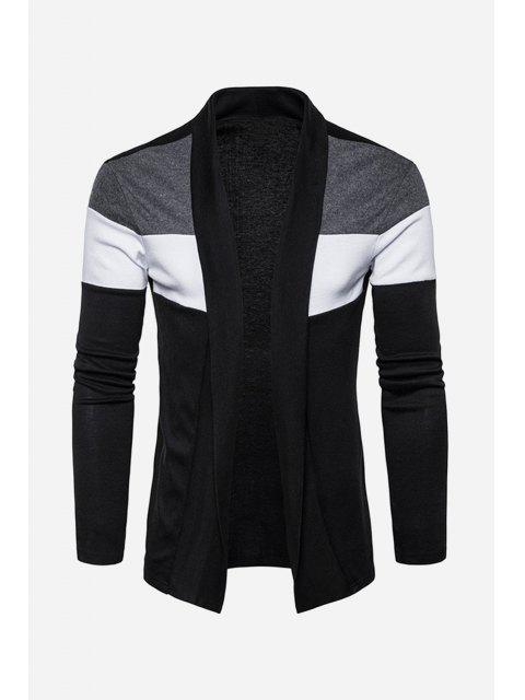 women's Shawl Collar Cotton Blends Color Block Cardigan - BLACK S Mobile
