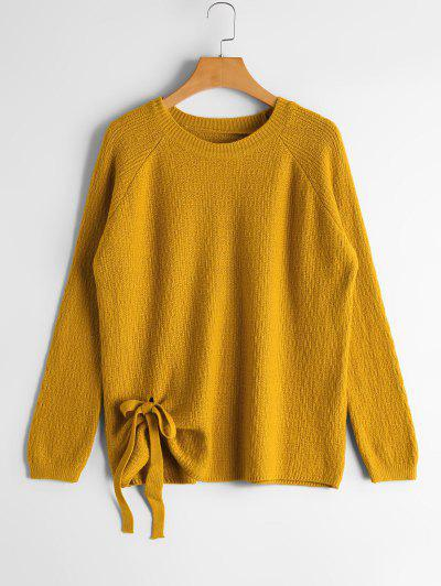 Raglan Sleeve Bowknot Sweater - Yellow