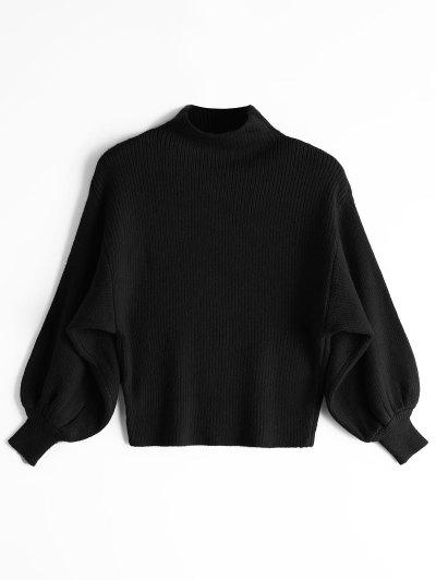 Lantern Sleeve Mock Neck Sweater - Black