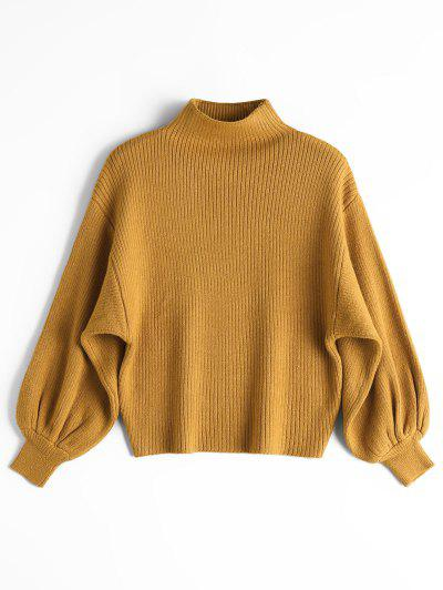 Lantern Sleeve Mock Neck Sweater - Yellow
