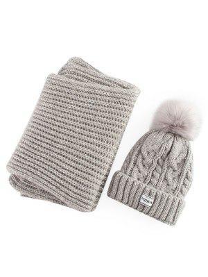 Hemp Flower Knit Pom Hat and Scarf