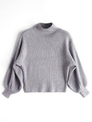 Pullover mit Laterne Hülse und Mock Neck