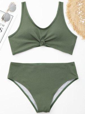 Knotted Ribbed Plus Size Bikini
