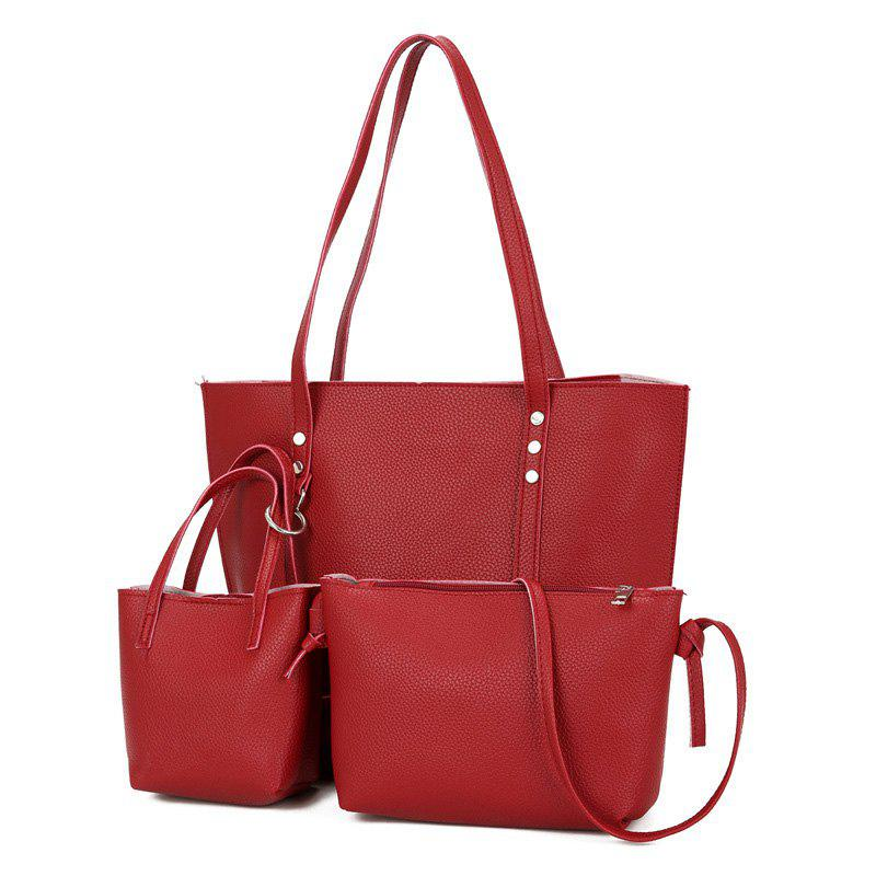 3 Pieces PU Leather Shoulder Bag Set