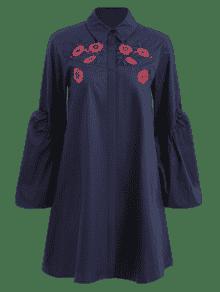 Purp Azul 250;reo Puff Camisa Vestido M Manga Floral De Bordada 00Z6qf