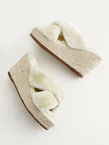 44aa2067ae0 43% OFF  2019 Faux Fur Criss Cross Wedge Heel Slippers In APRICOT ...